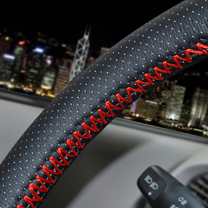 GLCC DIY чехол на руль автомобиля универсальный кожаный руль мягкой искусственной кожи крышки рулевого колеса 38см универсальный с иглой и резь...
