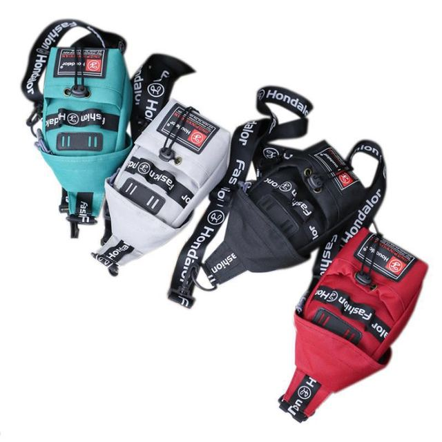 J&Q Fashion stylish satchel girls chest bag Canvas unisex bicycle bag small mini crossbody bag black fabric bag