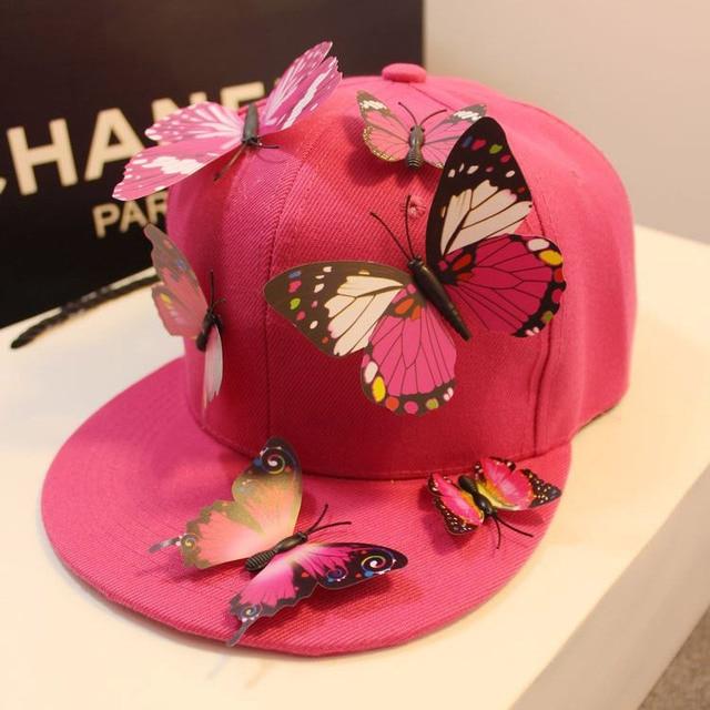 1f838b6fcf42 € 17.88 |Marca moda mariposa del Snapback Caps para mujeres Original gorra  de béisbol de Hip Hop hechos a mano sombreros Gorras Planas rosado lindo ...