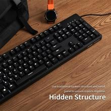 Ajazz AK535 104 anahtar kablolu ergonomik mekanik klavye kırmızı/mavi anahtarı kablolu beyaz arkadan aydınlatmalı oyun klavye Laptop için