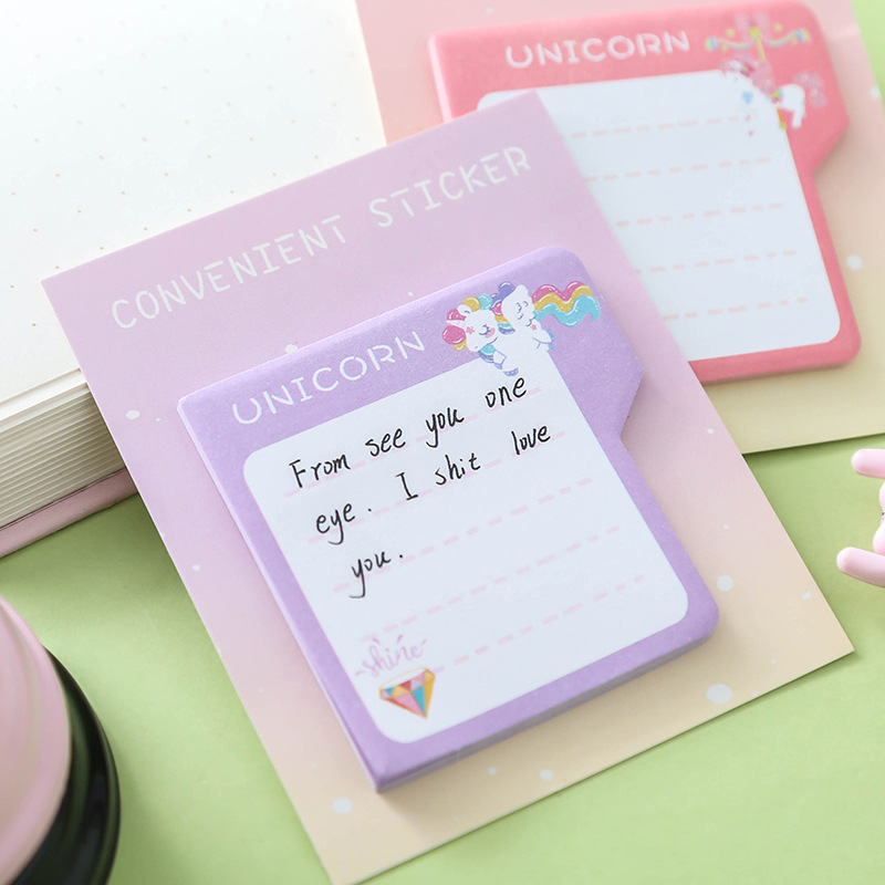 Cute Unicorn N Times Memo Pad Cartoon Self-Adhesive Indexes Post Sticky Notes Bookmark Stationery Sticker School Supplies