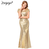 Ruiyige Women Sequined Dress Long Maxi Tunic Sexy Solid Back Zipper Beaded Trumpet Dresses Formal Party