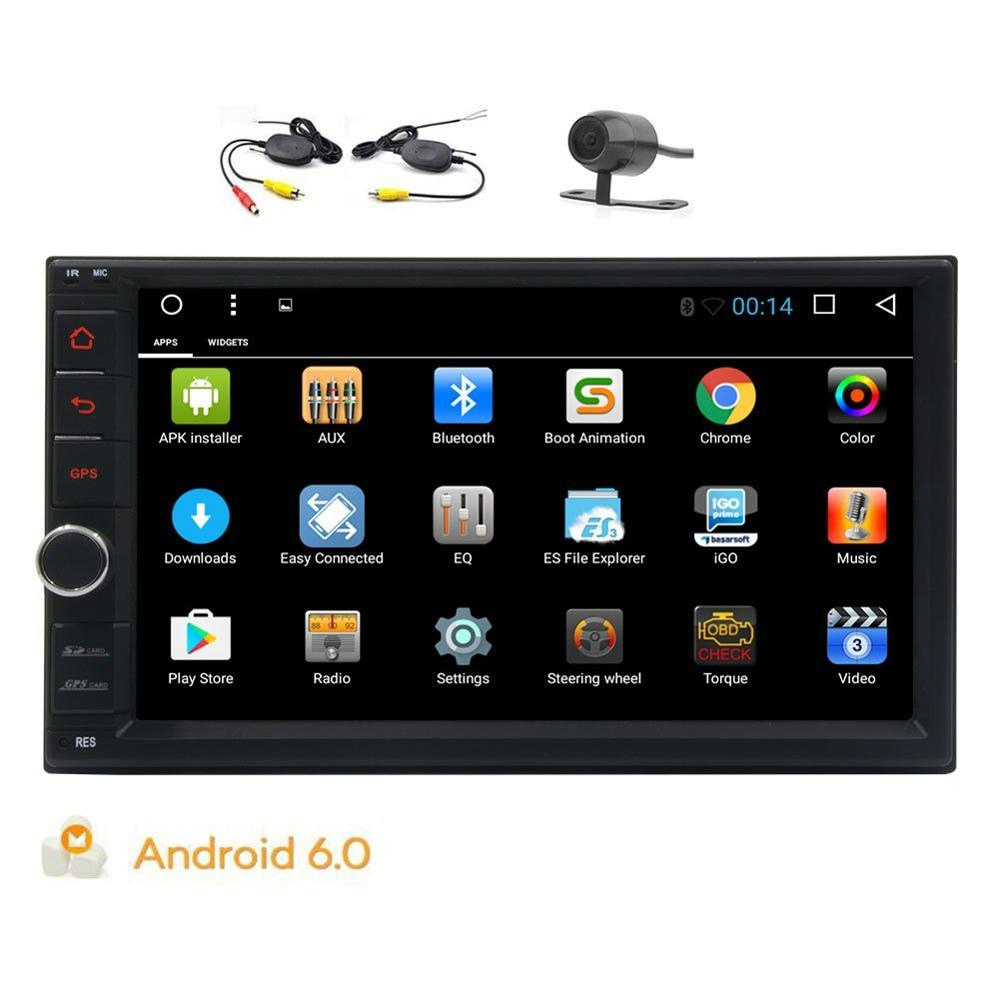 Android 6.0 stereo Head Unit Double din car radio Wifi Bluetooth Screen Mirror USB OBD2 Video Audio Player+Wireless Rear Camera