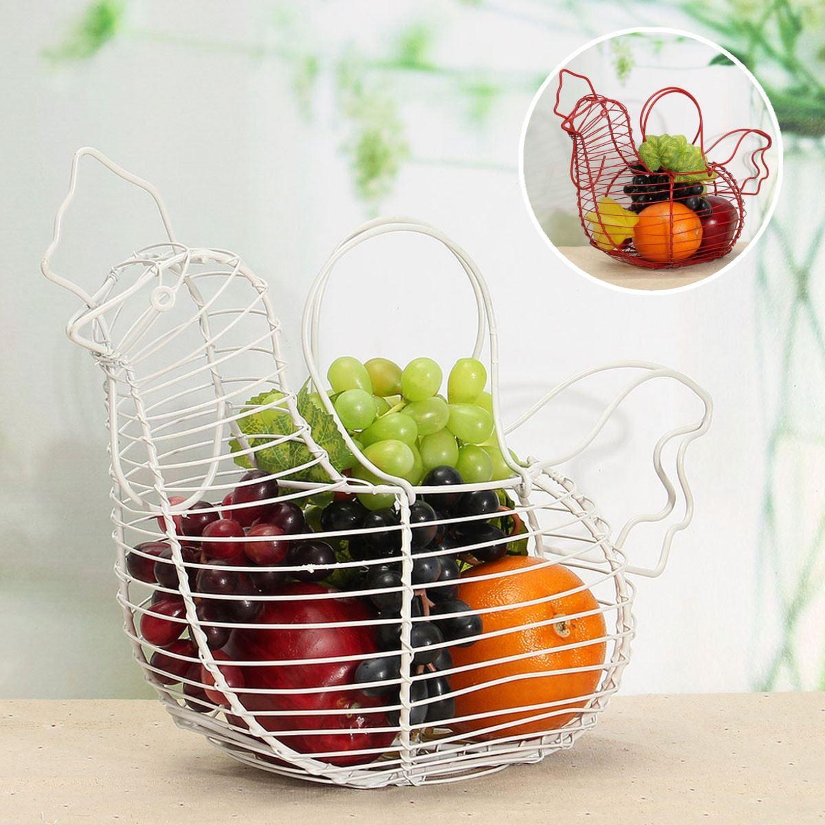 2 Colors Iron Wire Hen Shape E gg Basket Metal Storage Rack Fruits ...