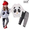 Ropa de niños Niñas Niños Que Arropan la Muchacha de Lentejuelas Panda T camisa de Rayas AB Leggings 2 unids Algodón de los Sistemas Del Bebé Embroma la Ropa traje