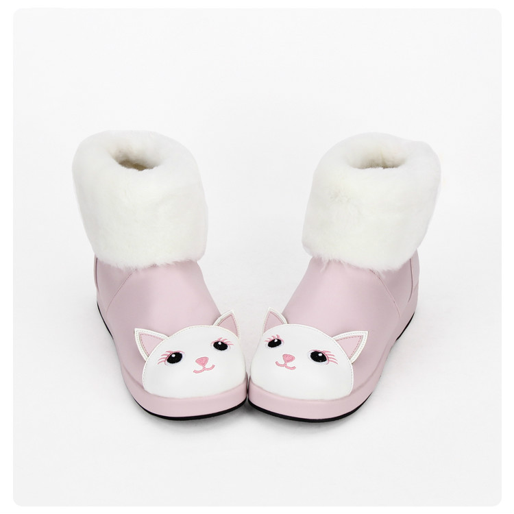 Princess sweet punk shoes Winter Lolita is low and cute cat boots cotton boots hair collar Princess boots ladies pu8873 princess sweet lolita parkas in the winter of new women s original japanese sweet fox fur collar long sleeved coat c22cd7219