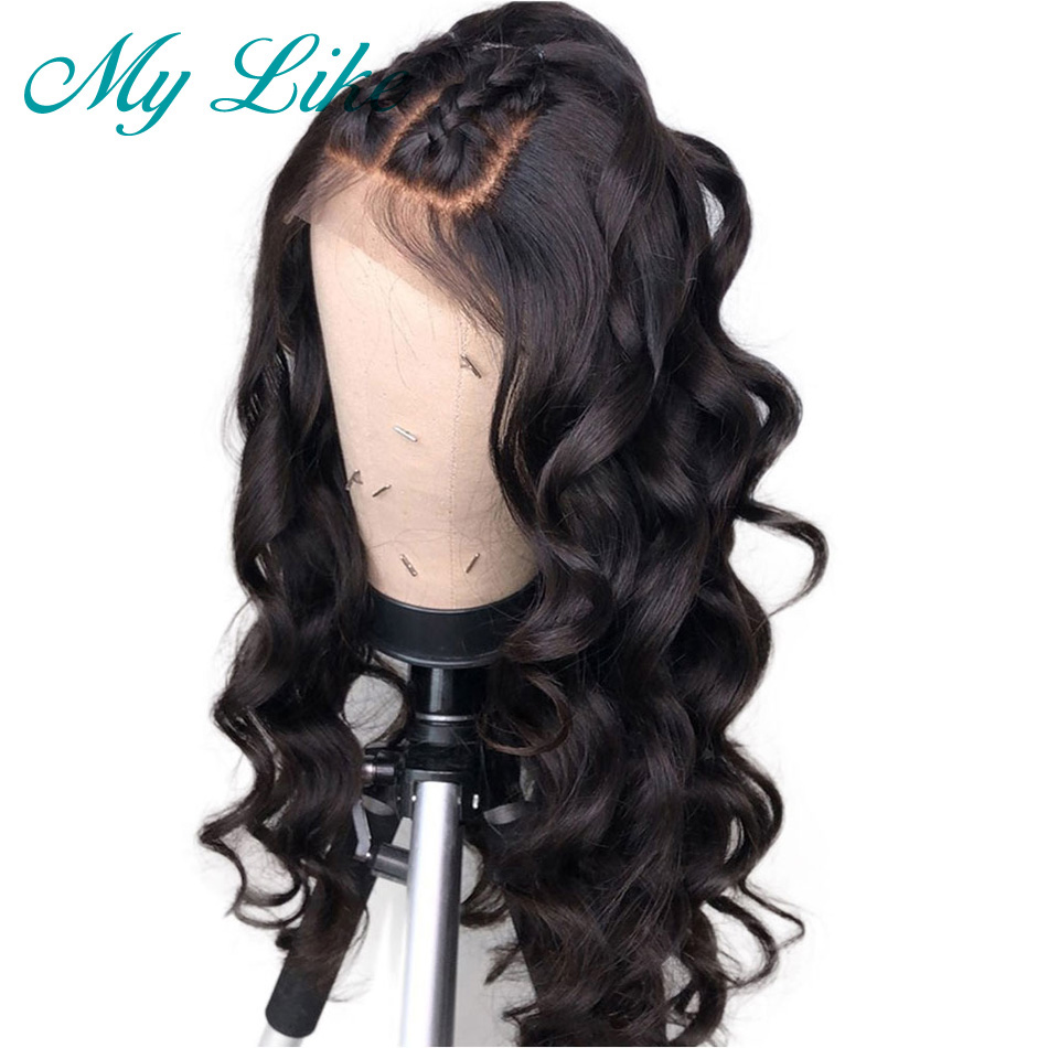 My Like Brazilian Loose Wave Full Lace Human Hair Wigs Pre plucked with baby Hair Remy Glueless Full Lace Wigs for Black Women(China)