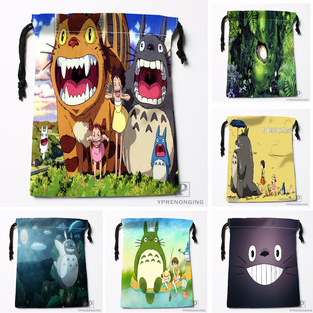 Custom My Neighbor Totoro Drawstring Bags Printing Travel Storage Mini Pouch Swim Hiking Toy Bag Size 18x22cm#0412-11-104