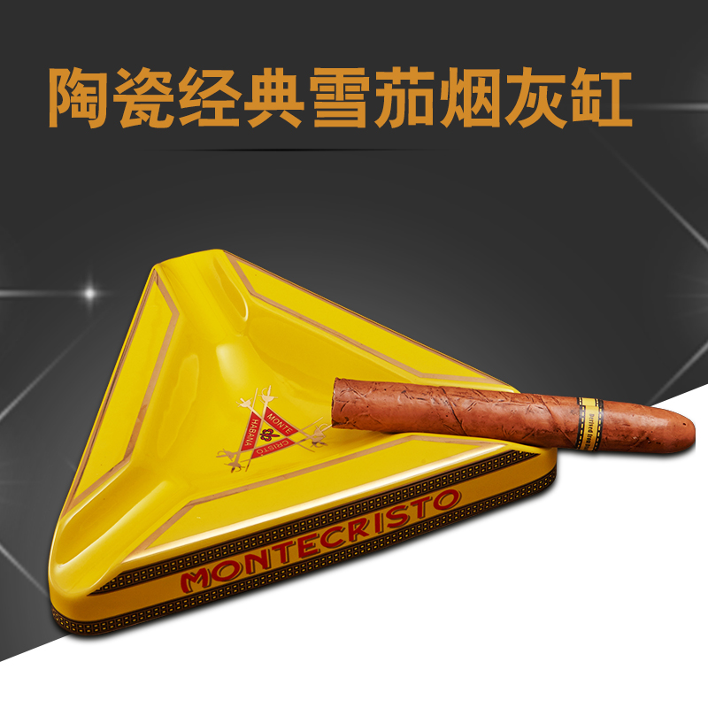 Montecristo Beautiful Gadgets High Large Size Yellow Triangular Ceramic Table Cigar Ashtray with 3 Rests Montecristo Beautiful Gadgets High Large Size Yellow Triangular Ceramic Table Cigar Ashtray with 3 Rests