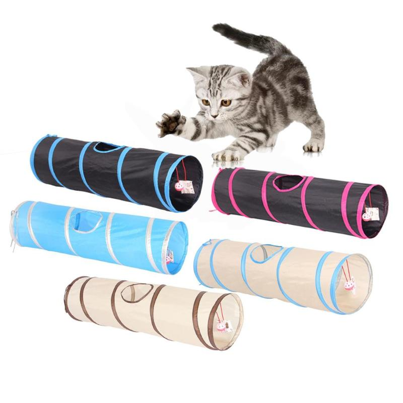 Funny Pet Cat Tunnel 2 Holes Play Tubes Balls Collapsible Crinkle Kitten Toys Puppy Ferrets Rabbit Play Dog Tunnel Tubes image