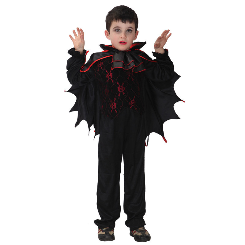 Kid's Halloween Cosplay Costumes Black Bat Vampire Cosplay Costumes Top Pants Cloak 3 Pcs Set Child Deguisement For Carnaval