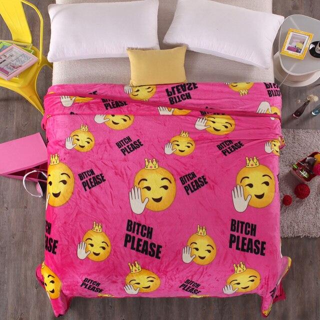 Emoji Pattern Super Soft Fuzzy Polar Fleece Blanket On Bed Couch Simple Fleece Blanket Pattern