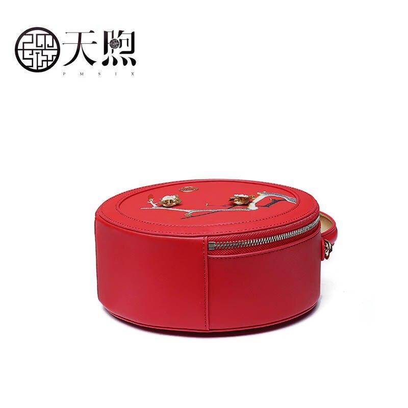 Pmsix 2019 Novas Mulheres bolsa De Couro bolsas de alta qualidade Da Moda bordado saco Rodada Luxo tote pequeno saco de bolsas de couro das mulheres - 5