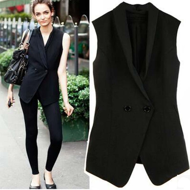 Europe Star Same Style Double Breasted Suit Vest Women Sleeveless Turn Down Collar Waistcoat Fashion Office Lady Slim All Match
