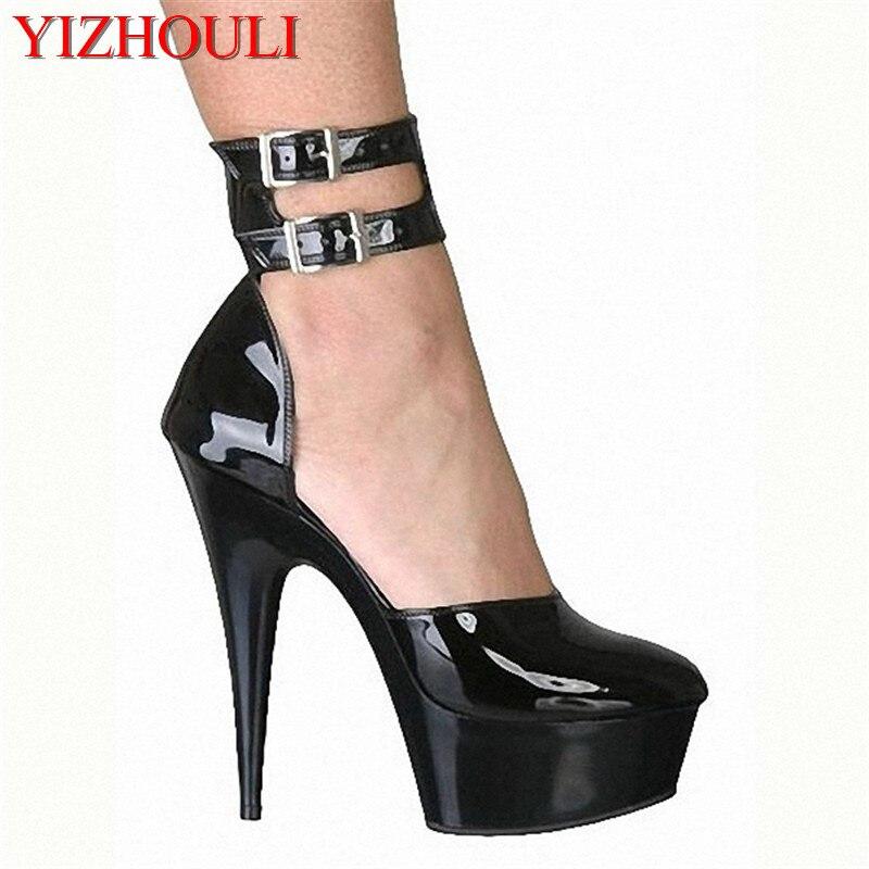 Talon Noir Plates Style Sangle À Modèle Couverture 6 Cheville Hauts 15 Pole Chaussures Talons Pouce formes Femmes Cm Sandales Dance wUzwFqr