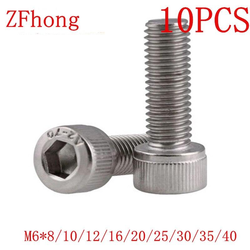 10 pçs/lote din912 aço inoxidável 304 M6 * 8 a 40mm hex soquete parafuso de cabeça cap
