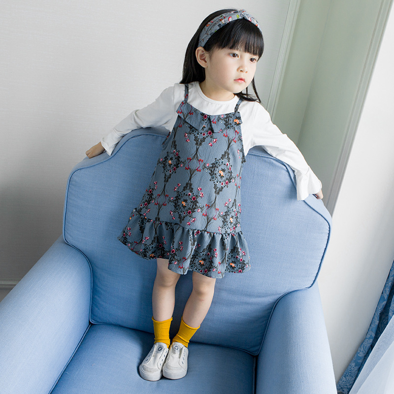 Korean Style Girls Clothes Set for Autumn Children Clothing Sets Pure White T Shirt Dress 2PCS Baby Girl Birthday Party Clothes 2pcs children outfit clothes kids baby girl off shoulder cotton ruffled sleeve tops striped t shirt blue denim jeans sunsuit set