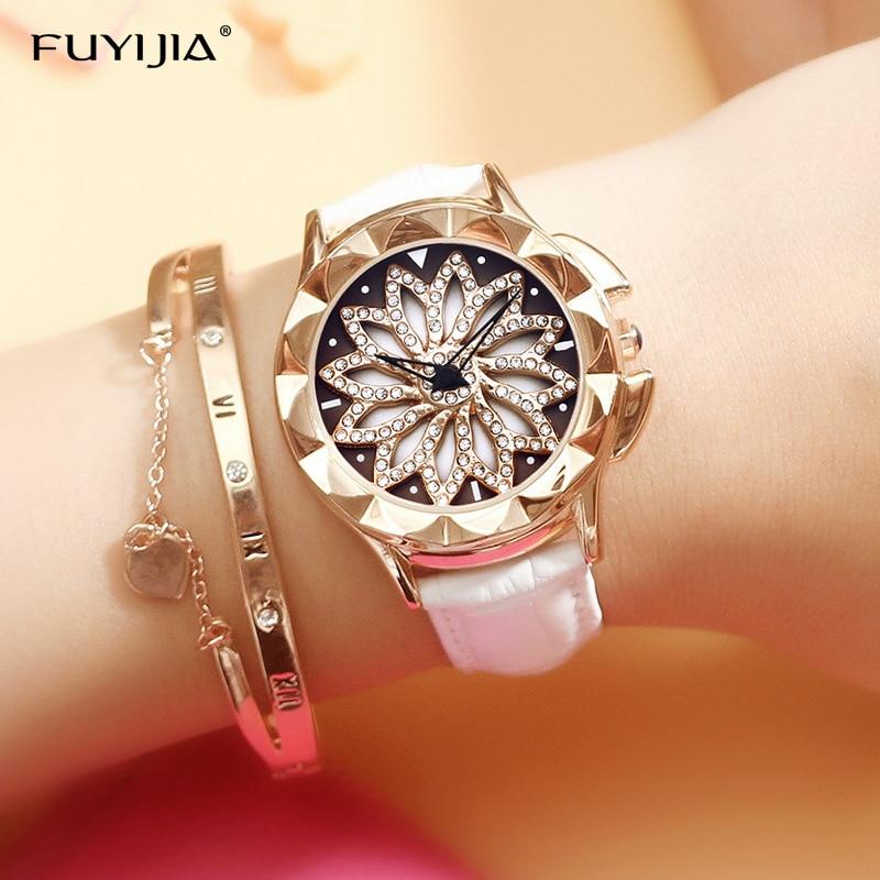 Nueva Mujer de cuarzo relojes señoras reloj hembra reloj de oro marca de lujo chica giratoria dial Relogio Feminino