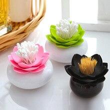 New Plastic Lotus Cotton Swab Box Cotton Bud Holder/ Lotus Toothpicks Holder Toothpick Case Novelty Households Plastic Organizer