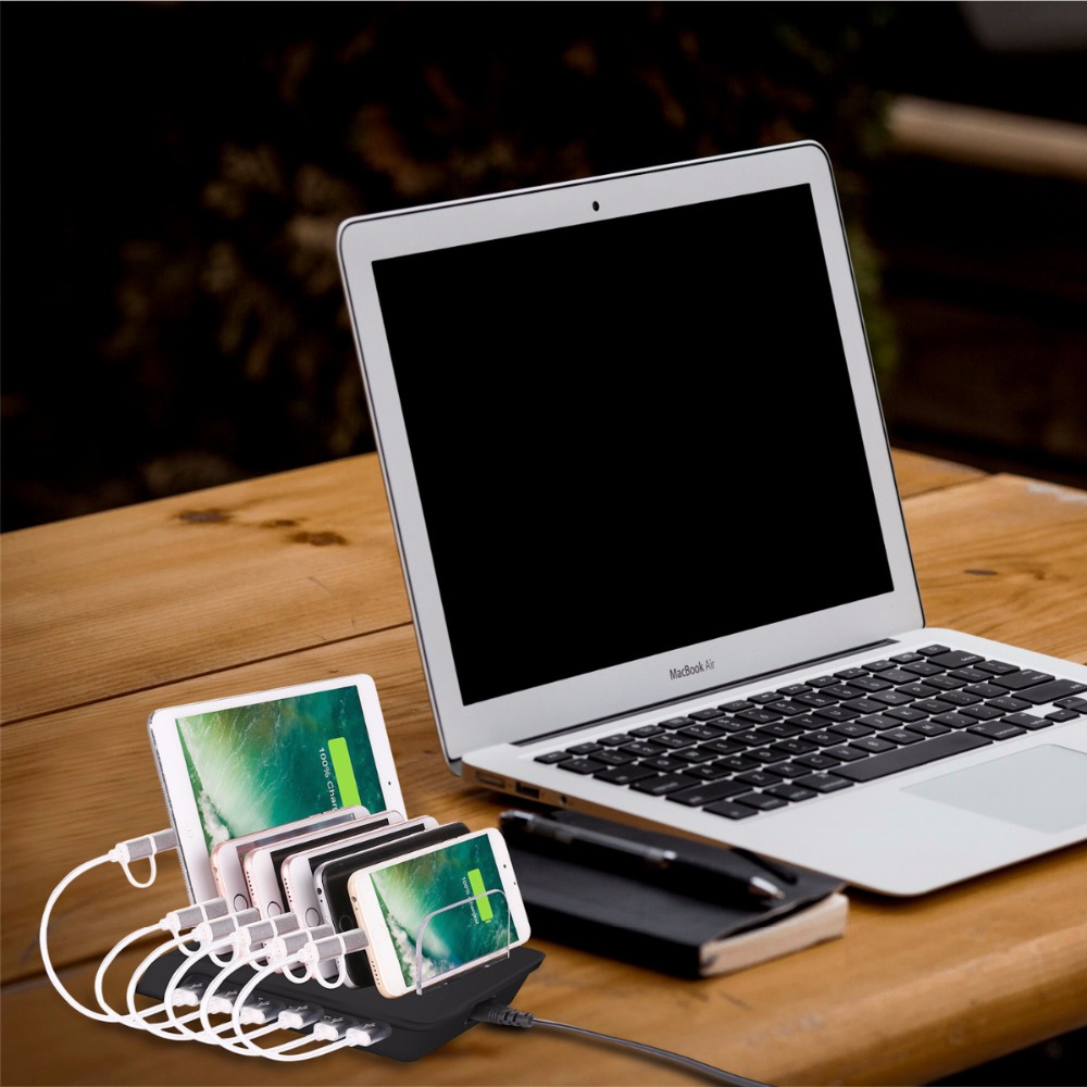 Fast 6 Port USB Charging Station Universal Desktop Tablet Smartphone Multi for Samsung Note 8 S8
