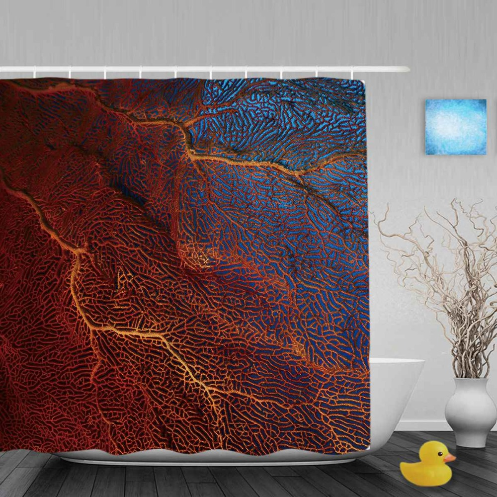 Red Transparent Coral Bathroom Curtain Beautiful Ocean