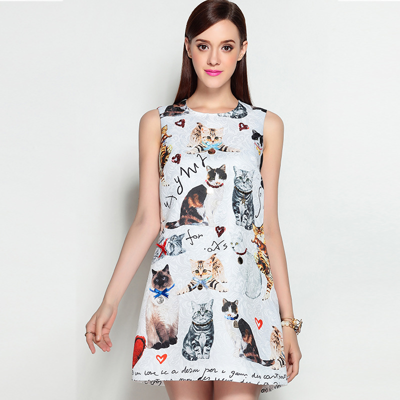 2017 Newest High Quality Runway Designer Dresess Womens Summer Sleeveless Lovely Cat Printed Love Beading Casual Mini Dress