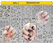 1 set 30 sheets 3D Design Tip Nail Art Sticker Decal Manicure Golden Black Flowers decals for children/Christmas nail sticker