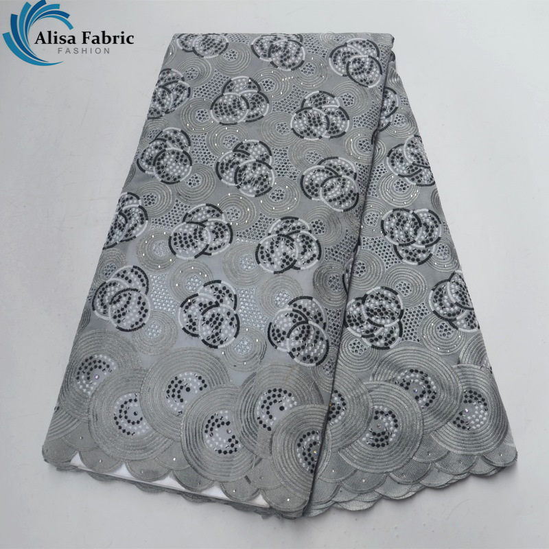 Alisa Grey Swiss Voile Lace in Switzerland High Quality 2018 Patchwork Nigerian Wedding Fabrics 100% Cotton Fabric for Dress