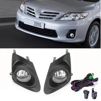 For 2011 2013 Toyota Corolla Clear Bumper Fog Lights Lamps+Cover +Switch Wiring