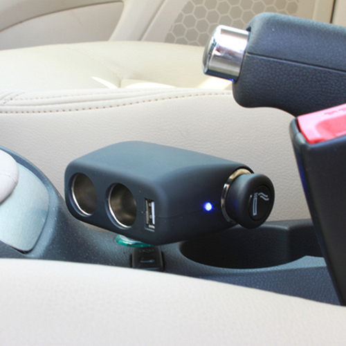 12V24V Car Cigarette Lighter Socket with 3 Way ,Rotatable Car Charger USB, Angle adjustable, Color: Black