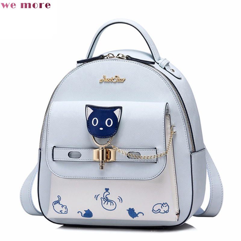 we more Female Cartoon Cat PU Leather Double Shoulder Bags Ladies Embroidery Lock Daily Rucksack JS03 Women's Backpacks
