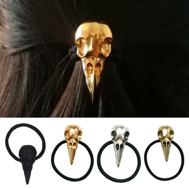 91710a3c0ab8 Novelty Women Hair Accessories Halloween Raven Skull Elastic Hair Bands  Brand New High Quality Ladies Girls