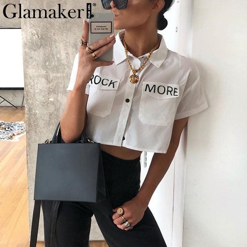 Glamaker Streetwear Korean Fashion Blouse Women Short Sleeve White Shirt Top Female Sexy Letter Print Summer Crop Blouse Shirts