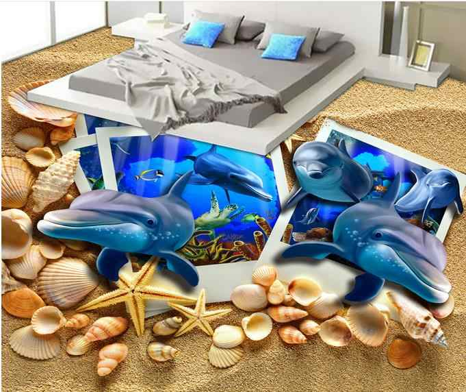 wall papers home decor living room 3d flooring Dolphin beach shells kids wallpaper vinyl flooring photo wallpapers