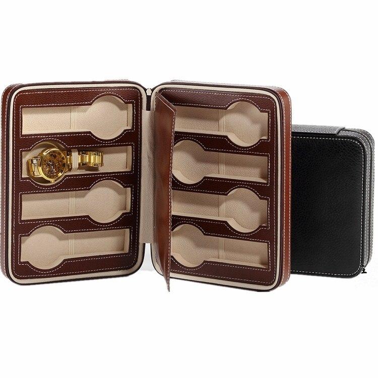 Caixas de Armazenamento Caixa de Relógio de Couro Relógio de Viagem Organizador de Jóias dos Homens Slots Preto Cases Mechnical Assista Titular Bolsa Simples 8