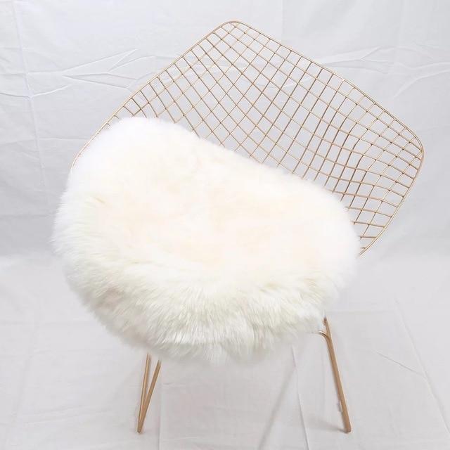MUZZI 100 Rel En Peau De Mouton Rond Chaise Couverture Coussin