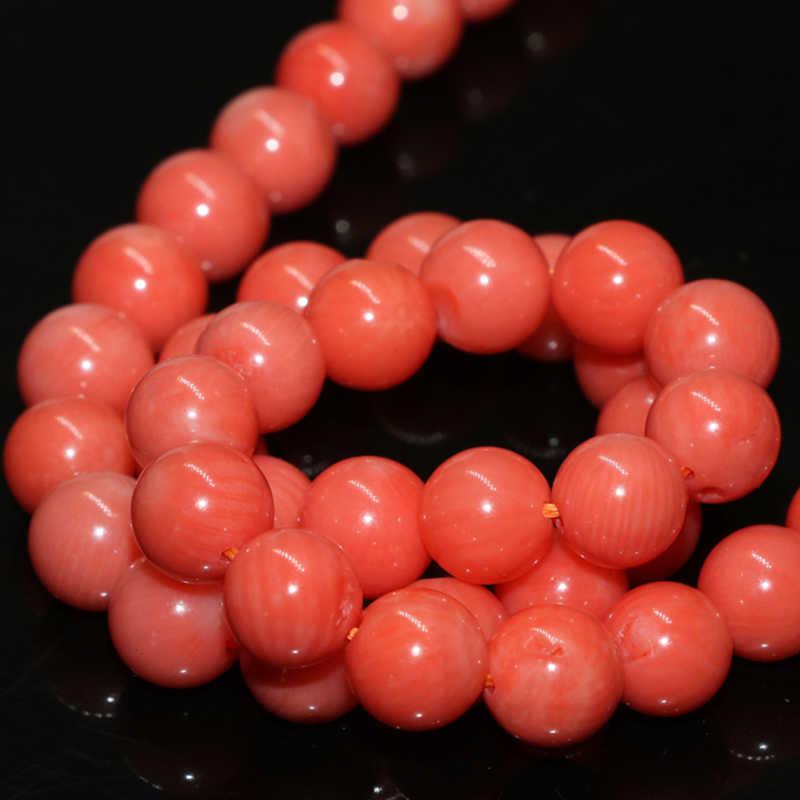 Natural laranja coral 4mm 6mm 8mm 10mm contas redondas para fazer jóias nova moda feminina encantos diy contas soltas 15 polegada b612