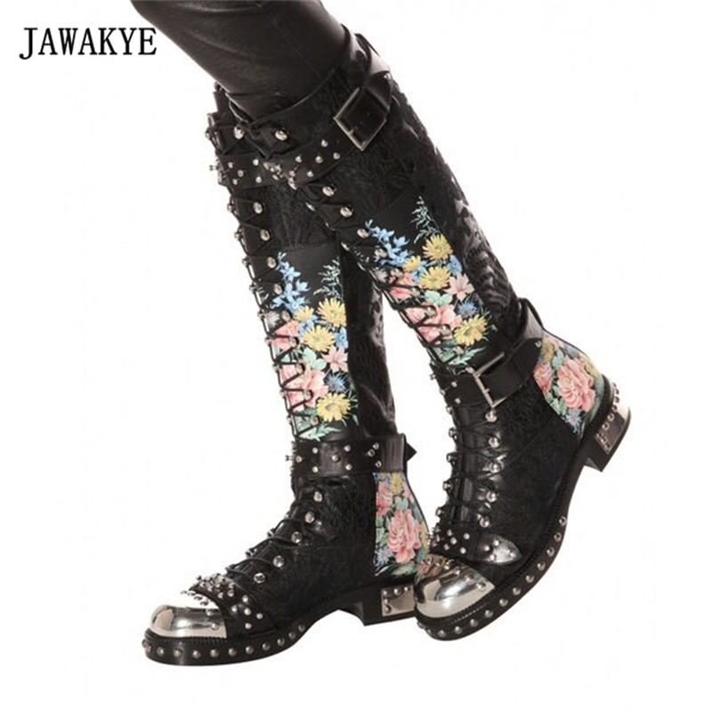 2017 Pink Leather Knee High Boots Woman Metal Round Toe Embroidered Flower Rivet Buckle Martin Boots