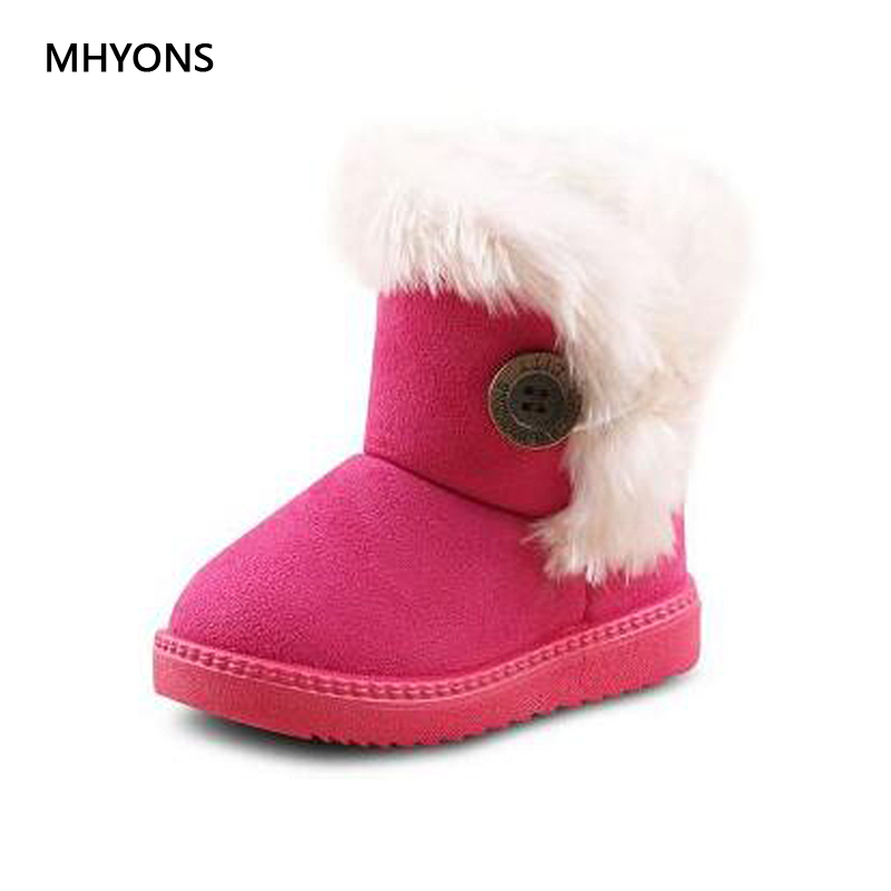 2019 New Fashion Winter Baby Girls Boots Kids Snow Boots Boy Warm Cotton Thick Buckle Strap Shoes Children Non-slip Martin Boots