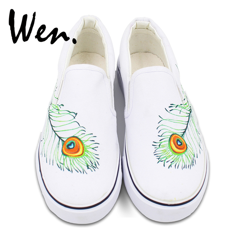 Wen Original Design Peacock Feather Hand Painted Shoes Custom Slip On White Athletic Shoes Women Men's Breathable Sneakers wen original design colorful lamp bulb hand painted shoes black slip on canvas sneakers for man woman s gifts presents