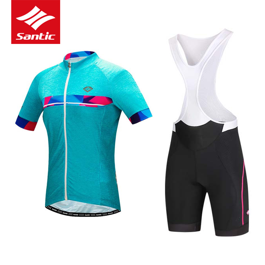 Santic Cycling Jersey Women Set Short Sleeve Road Bike Jersey Breathable 4D Pad Bicycle Bib Shorts Clothing Ropa Ciclismo 2017 santic women cycling jersey summer short sleeve mtb downhill jersey breathable mountain bike bicycle jersey ropa ciclismo
