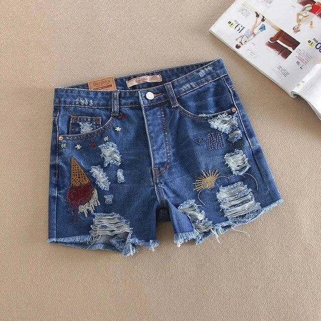 2016 летом новый Европейский уличный стиль прилив пункт отверстие вышивка джинсовые шорты, джинсовые шорты дикие женские вспышки кнопку карман в юбке
