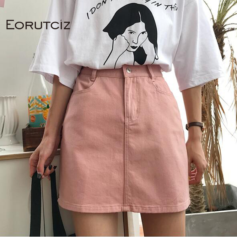 EORUTCIZ Summer Denim Skirt Women Vintage High Waist Tutu Jean Skirt Slim Pocket Elegant Black Skirts LM269