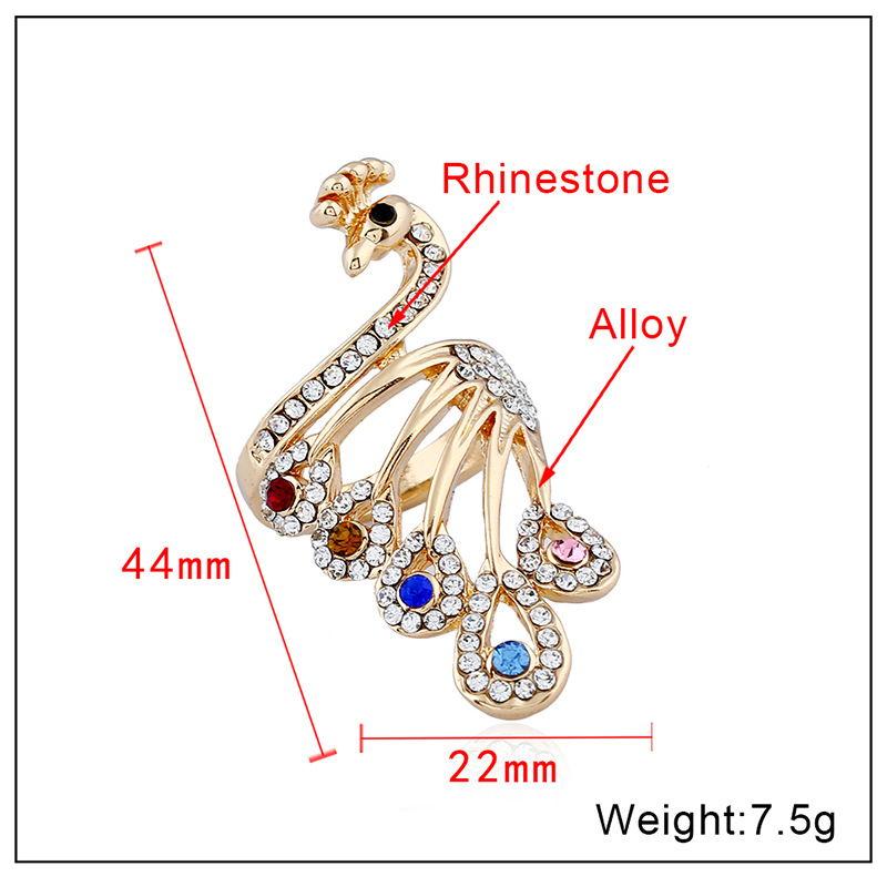 Crystal Gold-Color Peacock Cubic Zirconia Ring