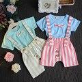 Summer Baby Boy Clothing Set Short Striped T-shirt+Rompers 2Pcs Children Cloth Bowknot Gentleman Suit Kids Set X1150