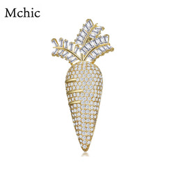 Mchic Luxury Cubic Zirconia Carota Brooches Pins OL Female Fashion Copper  Exquisite CZ Brooches Clothing Accessories
