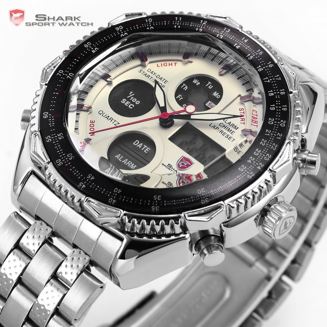Luxury Leather Box SHARK Sport Watch Mens Watches Top Brand Dual Time Day Steel Band /SH109-112 2