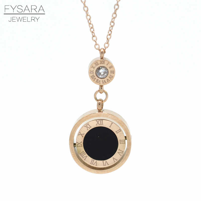 FYSARA Famous Brand Double Circle Roman Numeral Necklace For Women Turnable Black White Shell Pendent Necklace Jewelry Party