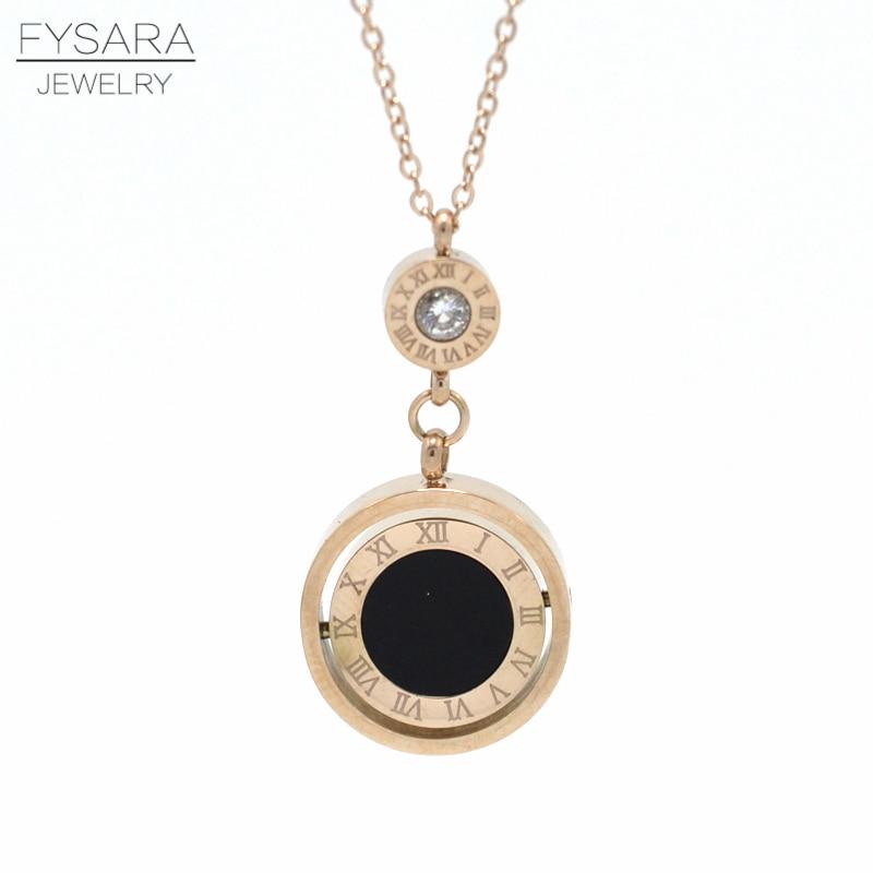 FYSARA Famous Brand Double Circle Roman Numeral Nec