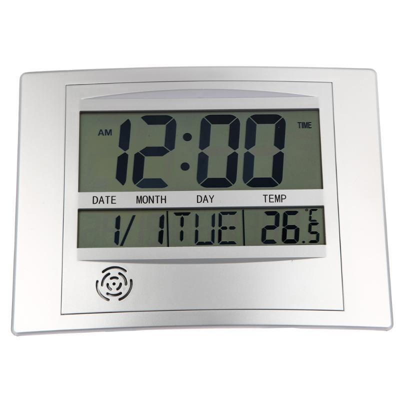 Lcd Digital Wall Clock With Thermometer Electronic Temperature Meter Calendar Indoor Desk Digital Wall Clock Home Decor